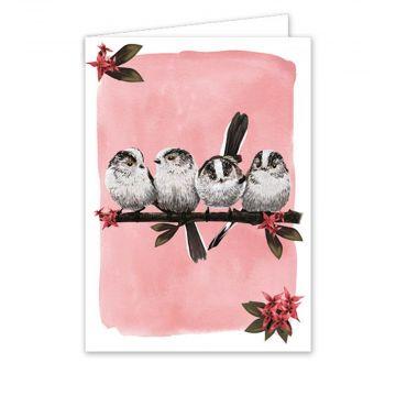 Carte de vœux mésange à longue queue - Myrte
