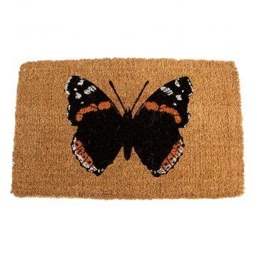 Paillasson en fibre de coco motif papillon