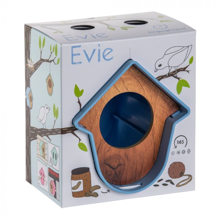 SingingFriend mangeoire Evie bleu – motif bois