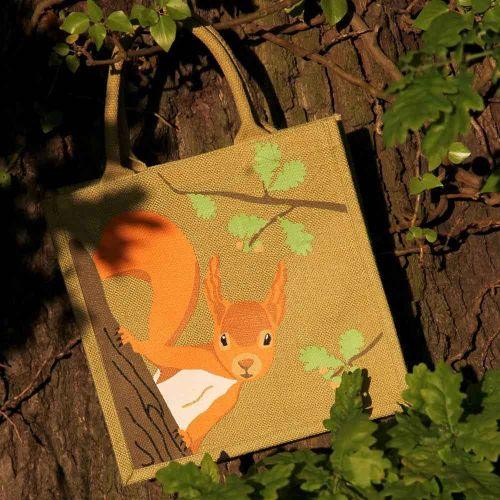 Sac de courses en toile de jute imprimé ecureuil