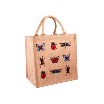 Sac de courses en toile de jute avec insectes