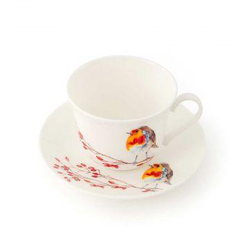 Tasse avec soucoupe rouge-gorge Roy Kirkham